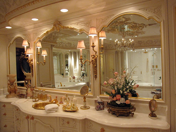 Elegant custom framed bathroom vanity mirrors