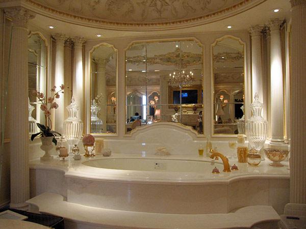 Elegant custom framed mirror bath surround