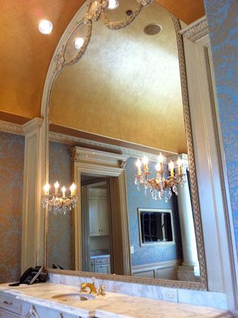 Beautiful custom framed bathroom mirror